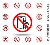 forbidden open door icon. set...
