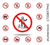 forbidden jumping icon. set can ...