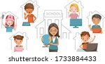 e learning child concept. study ...   Shutterstock .eps vector #1733884433