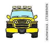 Old Yellow Cartoon Suv Icon....