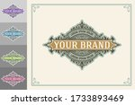 luxury logo template flourishes ... | Shutterstock .eps vector #1733893469