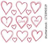 vector heart sketch | Shutterstock .eps vector #173390519
