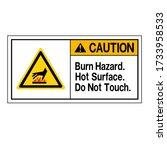 caution burn hazard hot surface ... | Shutterstock .eps vector #1733958533