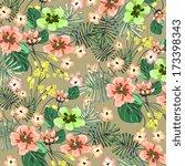 set of vectorized flowers | Shutterstock .eps vector #173398343