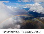 Aerial View Of Rainbow In Front ...