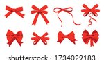 big set of red gift bows with... | Shutterstock .eps vector #1734029183