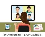 new normal life in office... | Shutterstock .eps vector #1734032816