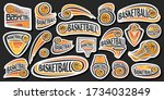 vector set for basketball  lot... | Shutterstock .eps vector #1734032849