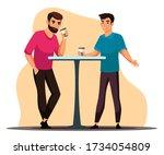 coffee break concept. two men...   Shutterstock .eps vector #1734054809