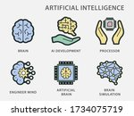 artificial intelligence icons.... | Shutterstock .eps vector #1734075719