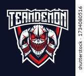 team demon esport logo template | Shutterstock .eps vector #1734080516