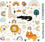 baby animals pattern. vector...   Shutterstock .eps vector #1734088400