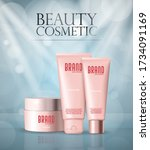cosmetic set  bottles with... | Shutterstock .eps vector #1734091169