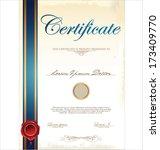 certificate template | Shutterstock .eps vector #173409770