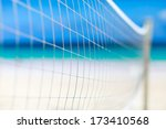 Close up of a volleyball net at tropical beach - stock photo