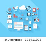 Vector illustration concept of SEO optimization, data analysis and storage, cloud computing, social media and program coding isolated on blue background with long shadow.