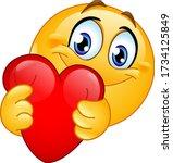 happy emoji emoticon hugging a...   Shutterstock .eps vector #1734125849