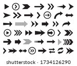 arrows set of black flat icons  ... | Shutterstock .eps vector #1734126290
