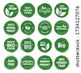 organic food labels. fresh eco... | Shutterstock .eps vector #1734127076