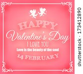 happy valentine's day card with ... | Shutterstock .eps vector #173412890