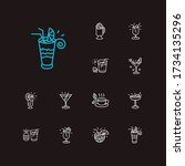drink icons set. coconut...