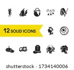 holiday icons set with pumpkin  ...