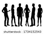 set of vector silhouettes of ... | Shutterstock .eps vector #1734152543