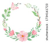 Watercolor Floral Wreath. Round ...