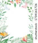 tropical flowers frame.... | Shutterstock . vector #1734161726