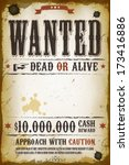 wanted vintage western poster | Shutterstock .eps vector #173416886