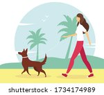 woman walking with the dog on... | Shutterstock .eps vector #1734174989