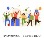 group of happy people receive a ...   Shutterstock .eps vector #1734181070