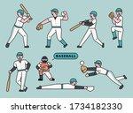various actions of baseball...   Shutterstock .eps vector #1734182330
