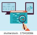 vector concept in flat retro... | Shutterstock .eps vector #173418386