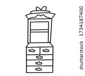 a single antique cupboard drawn ... | Shutterstock .eps vector #1734187400
