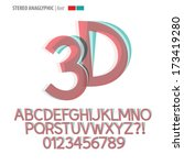 stereo anaglyphic alphabet and... | Shutterstock .eps vector #173419280