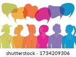 group of diverse multiethnic... | Shutterstock .eps vector #1734209306