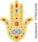 fatima hand  security symbol ... | Shutterstock .eps vector #1734216320