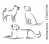 Stock vector set of simple vector silhouettes of dogs in different poses 173421746