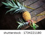 Fresh Pineapple On Wooden...
