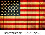 Old Painted American Flag On...