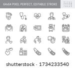 cardiology line icons. vector... | Shutterstock .eps vector #1734233540