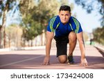 handsome young runner in the... | Shutterstock . vector #173424008