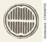 round manhole cover. vector... | Shutterstock .eps vector #1734248723