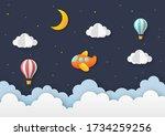 airplane flying on night sky... | Shutterstock .eps vector #1734259256