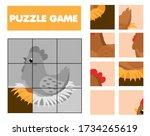 cartoon nesting hen. farm... | Shutterstock .eps vector #1734265619