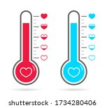 thermometer of love in heart.... | Shutterstock .eps vector #1734280406