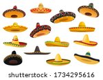 mexican sombrero hat isolated... | Shutterstock .eps vector #1734295616