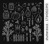 gardening vector clipart. white ... | Shutterstock .eps vector #1734302393