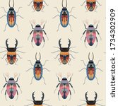 vector seamless pattern with... | Shutterstock .eps vector #1734302909